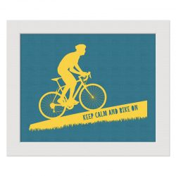 roadie yellow blue keep calm an bike on 10x8 landscape